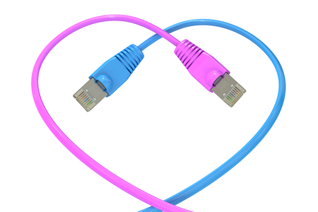 ethernet cable: computer network cables in the heart-shaped, 3D rendering isolated on white background