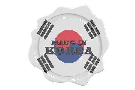 made to order: made in Korea seal, stamp. 3D rendering