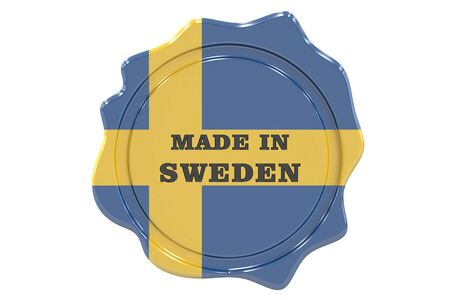 made to order: made in Sweden seal, stamp. 3D rendering