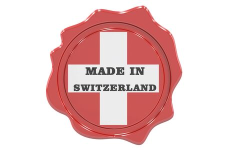 made to order: made in Switzerland seal, stamp. 3D rendering