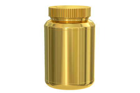 lux: blank golden jar, 3D rendering isolated on white background