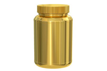 luxo: em branco jarro de ouro, rendição 3D isolada no fundo branco Banco de Imagens