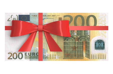 wad: Wad of 200 Euro banknotes with red bow, gift concept. 3D rendering