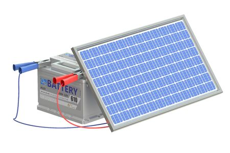 electrical part: battery car with solar cell panel, 3D rendering