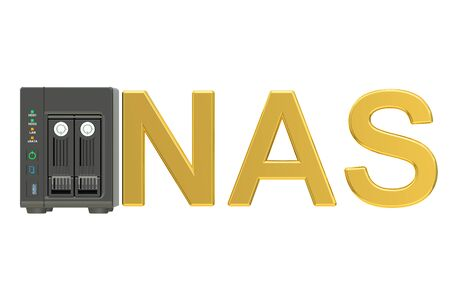 nas: NAS, Network-attached storage. 3D rendering isolated on white background