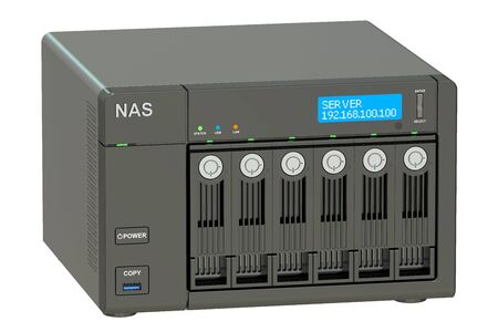 computer hardware: NAS with 6 disks, 3D rendering isolated on white background