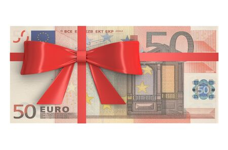 holiday profits: Wad of 50 Euro banknotes with red bow, gift concept. 3D rendering