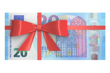 20 euro: Wad of 20 Euro banknotes with red bow, gift concept. 3D rendering Stock Photo