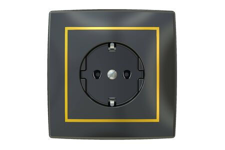 mains: Black electric socket, 3D rendering isolated on white background Stock Photo