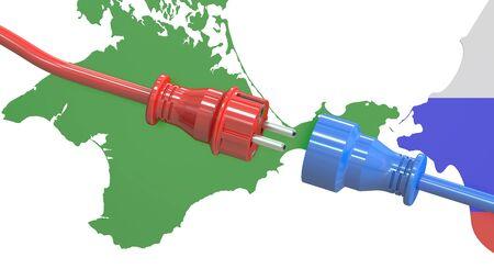 mains: Crimea power bridge concept, 3D rendering