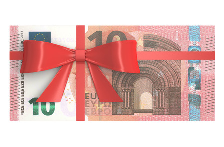 Pack of 10 Euro banknotes with red bow, gift concept. 3D rendering