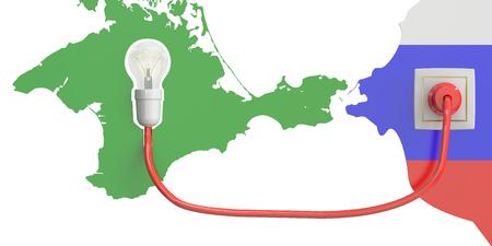 crimea: Crimea power bridge from Russia concept, 3D rendering