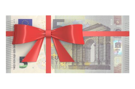 paper wad: 5 Euro banknotes with red bow, gift concept. 3D rendering Stock Photo