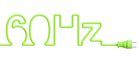 hz: 60 Hz concept from green wire and plug. 3D rendering