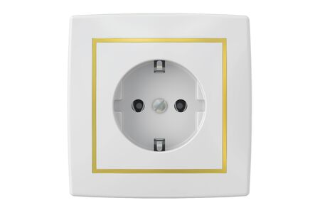 powerline: electric socket, 3D rendering isolated on white background Stock Photo
