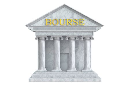 bourse: Bourse building with columns, 3D rendering