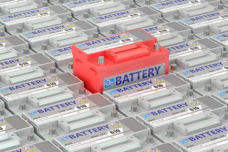 batteries: Car batteries background, 3D rendering Stock Photo