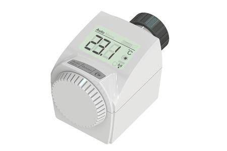 radiator: Digital radiator thermostatic valve, 3D rendering Stock Photo