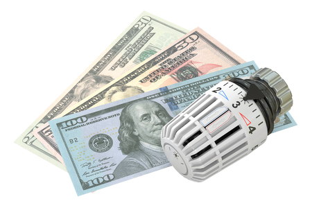 warmth: Energy saving concept with radiator thermostatic valve and money,  3D rendering