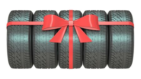 packaged: Gift set of tires wrapped ribbon and bow, 3D rendering isolated on white background