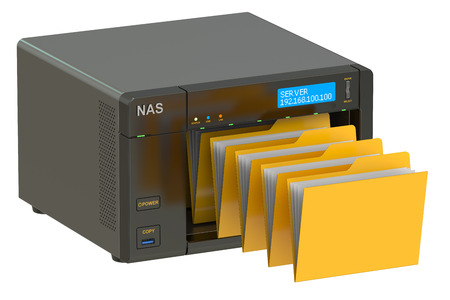 nas: NAS, concept of data storage. 3D rendering isolated on white background