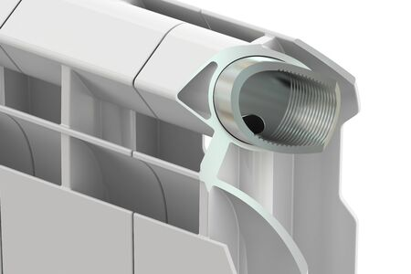 convective: Cut of a heating radiator, 3D rendering Stock Photo
