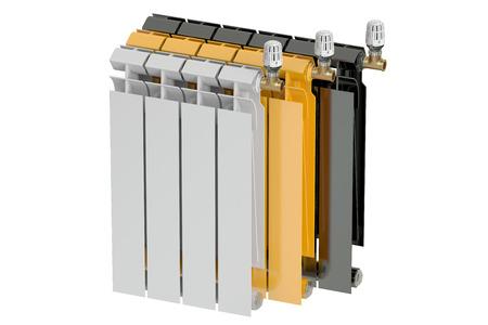 radiatori per riscaldamento con valvole termostatiche, il rendering 3D