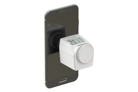 thermostat: Energy saving concept with modern thermostat and phone,  3D rendering