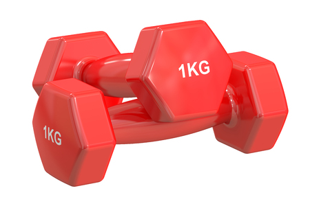 kg: Red Dumbbells 1 kg isolated on white background