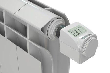 convective: heating radiator with digital radiator thermostatic valve, 3D rendering