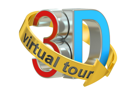 3D Virtual Tour concept, 3D rendering isolated on white background