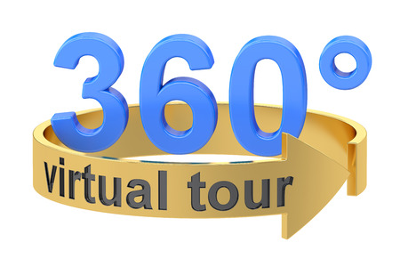 バーチャル ツアー 360 度の概念。白い背景に分離された 3 D レンダリング