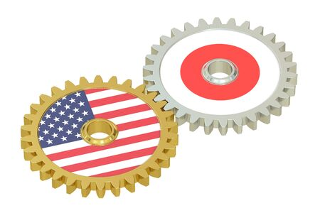 relations: Japan and United States relations, 3D rendering isolated on white background