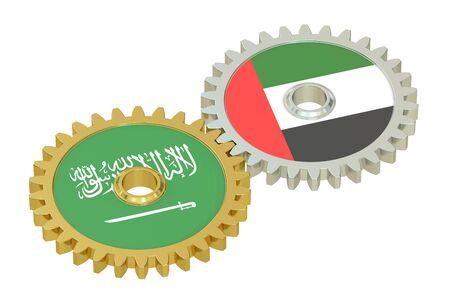 relations: Saudi Arabia and UAE relations concept , 3D rendering