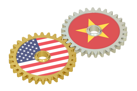relations: Vietnam and USA  relations, 3D rendering isolated on white background