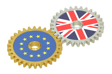 affairs: EU and Britain flags on a gears, 3D rendering