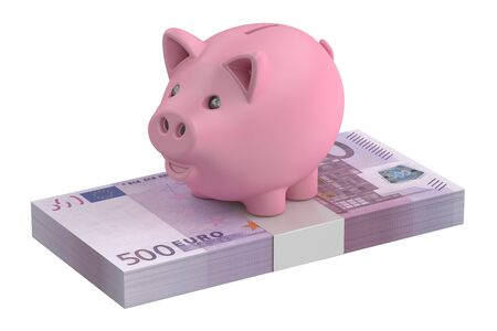 piggybank: Piggybank and 500 euro pack, 3D rendering isolated on white background Stock Photo