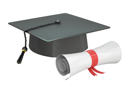 commencement: graduation cap diploma, 3D rendering isolated on white background Stock Photo