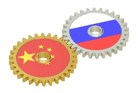 asian business meeting: Chinese and Russian flags on a gears, 3D rendering isolated on white background