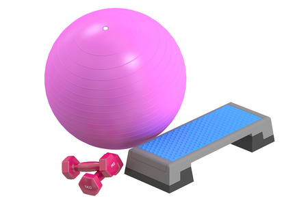 step fitness: Fitness and sports equipment concept. Aerobic step board, dumbbells and fitball 3D rendering Stock Photo