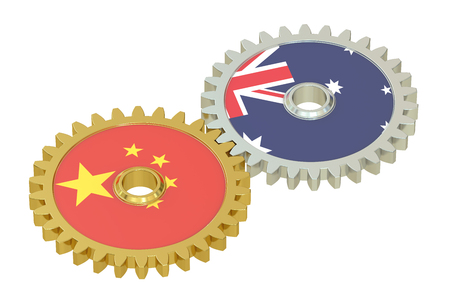 asian business meeting: Chinese and Australian flags on a gears, 3D rendering isolated on white background Stock Photo