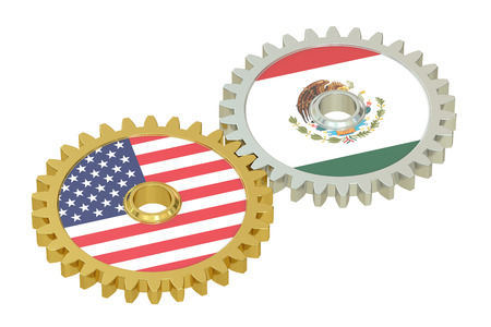 relations: Mexico and United States relations concept, flags on a gears. 3D rendering isolated on white background Stock Photo