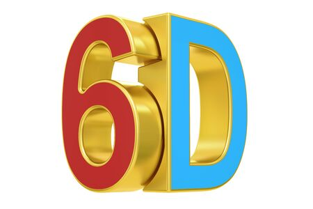 stereoscopic: 6D logo, 3D rendering  isolated on white background Stock Photo