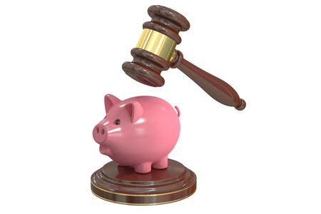 tax attorney: Gavel and Piggy Bank, 3D rendering isolated on white background