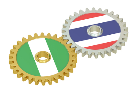 asian business meeting: Nigeria and Thailand flags on a gears, 3D rendering isolated on white background