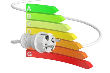 consumption: saving energy consumption concept, 3D rendering isolated on white background