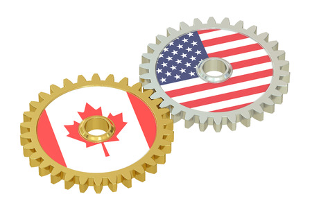 affairs: Canadian and United States relations concept, flags on a gears. 3D rendering isolated on white background Stock Photo