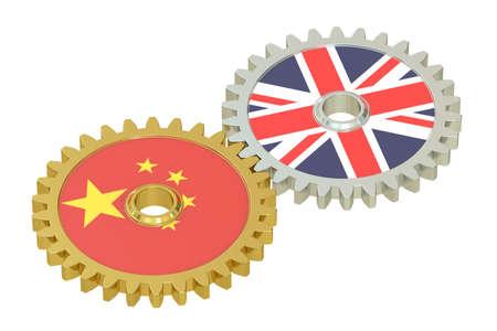 Royaume-Uni et la Chine concept de relations, les drapeaux sur un engrenage. Rendu 3D isolé sur fond blanc