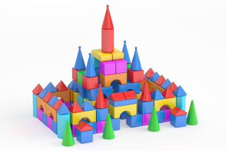 toy blocks: Towers from childrens toy blocks, 3D rendering isolated on white background Stock Photo