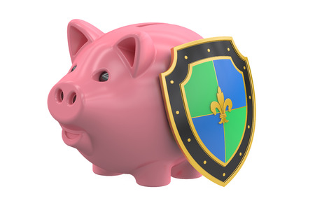 safest: piggy bank with shield, financial insurance and business stability concept. 3D rendering